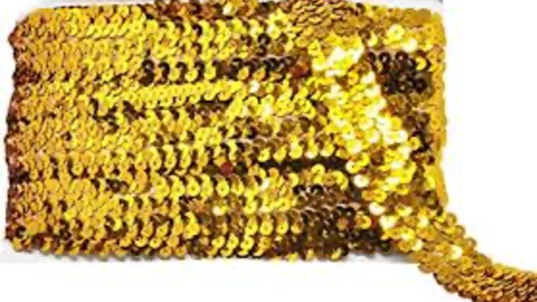 Picture of a 1 & 1/2 Inch Stretchy Gold Sequins Ribbon