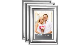 "Image of a 4"" x 6"" Silver Frame (medium width frame)"