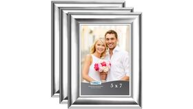 "Image of a 5"" x 7"" silver frame (medium width frame)"