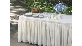 Image of a 13' Ivory Traditional Lace Skirt