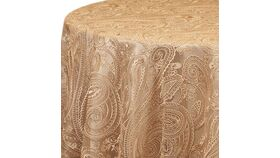"""Image of a 120"""" Champagne Paisley Lace Overlay"""