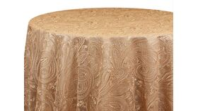 """Image of a 120"""" Gold Paisley Lace Overlay"""