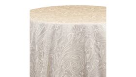 """Image of a 120"""" Ivory Paisley Lace Overlay"""