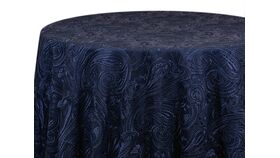 """Image of a 120"""" Navy Paisley Lace Overlay"""