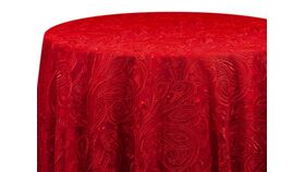 """Image of a 120"""" Red Paisley Lace Overlay"""