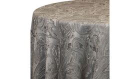 """Image of a 120"""" Silver Paisley Lace Overlay"""