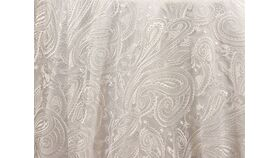 """Image of a 120"""" White Paisley Lace Overlay"""