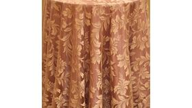 """Image of a 120"""" Taupe Lucerne Lace Tablecloths"""
