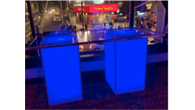 """Image of a 30"""" x 6' - Glass Table Top with 2 White Acrylic 24""""x 24"""" x 40"""" H - Glow Cocktail Tables"""