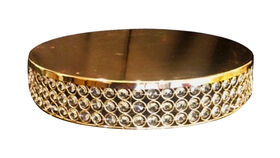 Image of a 17in D - Gold & Crystal Round Cake Stand