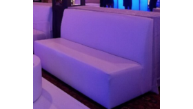 Image of a 6ft - White Leather Straight Lounge Bench with Back