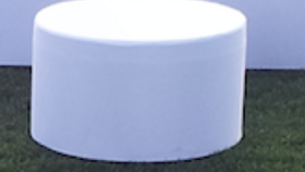 Image of a 30in - White Leather Round Ottoman