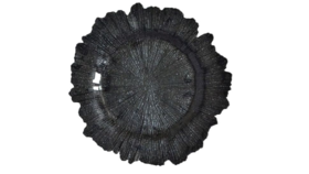 Image of a 13in - Black Starburst Glass Charger
