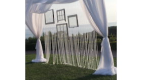 """Image of a 8' H x 30"""" W - Crystal Clear Beaded Curtain"""