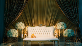 Image of a 6' - Ivory/Gold Victorian Vintage Tufted Sofa