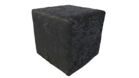 """Image of a Furniture Ottoman - Crushed Velvet, Black - 16"""" H x 16"""" W"""