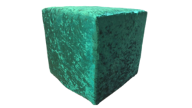 """Image of a Furniture Ottoman - Crushed Velvet, Green - 16"""" H x 16"""" W"""