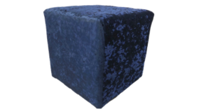 """Image of a Furniture Ottoman - Crushed Velvet, Navy Blue - 16"""" H x 16"""" W"""