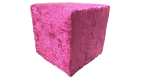 """Image of a Furniture Ottoman - Crushed Velvet, Pink - 16"""" H x 16"""" W"""