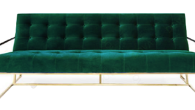 Image of a Furniture Sofa - Comox Green Velvet with Gold Frame