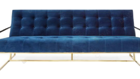Image of a Furniture Sofa - Comox Blue Velvet with Gold Frame