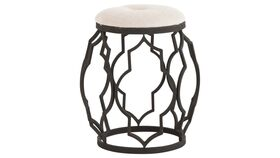 Image of a Furniture Ottoman - Thurlow Cream Cushion with Wrought Iron