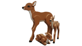 Image of a Animal - Deer Family Folk Art Wood (set of 3), Light Brown