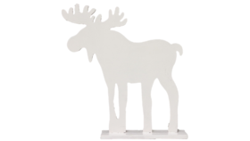 """Image of a Animal - Wood Moose Silhouette, White - 12.5"""" H x 12 W x 2.75"""" D"""