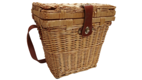 "Image of a Basket - Picnic, Tall w Leather Strap - 13"" H x 13"" W x 8"" L"