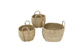 "Image of a Basket - Round Grass w Handles (Set of 3) - 8-10"" H"