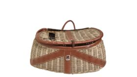 "Image of a Basket - Vintage Fishing Satchel - 9"" H x 8'' W x 20'' L"