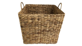 Image of a Basket - Square Wicker w Handles - 16'' H x 16'' W