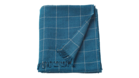 "Image of a Throw - Plaid Blanket, Navy Blue - 43"" x 67"""