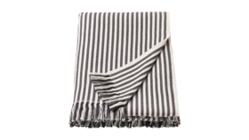"Image of a Throw - Valley Striped Blanket, Grey on White - 41"" x 71"""