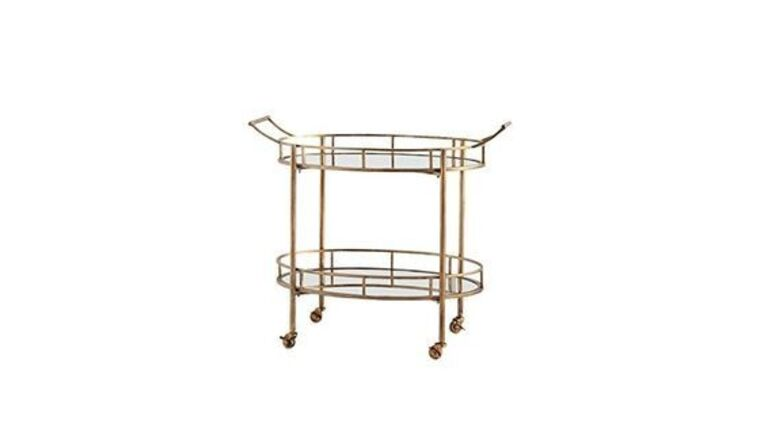 """Picture of a Furniture Bar - Metal Cart, Gold - 34"""" H x 38"""" W"""