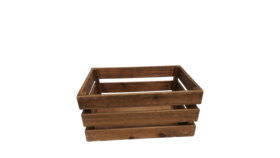 "Image of a Crate - Wood Slat, Dark Brown - 5.5"" H"