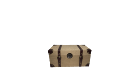 "Image of a Luggage - Burlap Rectangle Box w/ Leather Straps, Natural - 7.5"" H x 16"" W x 8"" D"