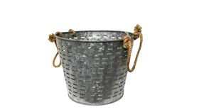 Image of a Bucket - Galvanized Slatted with Rope Handles