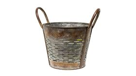 """Image of a Bucket - Slatted Rustic Metal with Handles - 8.5"""" H x 7"""" dia"""