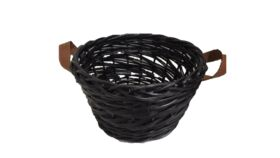 "Image of a Basket - Wicker w Leather Handles - Black - 9"" H x 16'' dia"
