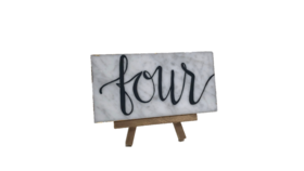 """Image of a Table Number - Marble on Mini Gold Easel - 3"""" H x 6"""" W"""