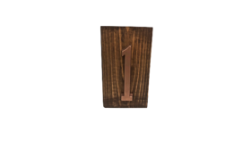 """Image of a Table Number - Wood Block with Copper Number - 6"""" H x 3.5"""" W"""
