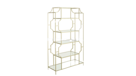 """Image of a Furniture Bar Back - Alberni Metal Frame with Glass Shelves, Gold - 78.7"""" H x 42.5"""" W"""