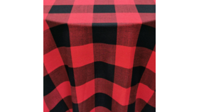 """Image of a Linen - 77"""" Square - Plaid, Red 