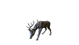 Image of a Animal - Deer Statue (head down), Dark Grey