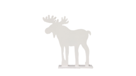 "Image of a Animal - Wood Moose Silhouette, White - 12.5"" H x 12 W x 2.75"" D"