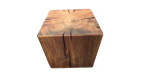 Image of a Furniture Stool - Faux Tree Stump Round, Dark