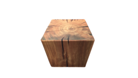 """Image of a Furniture Stool - Faux Tree Stump Square, Dark Brown - 17"""""""