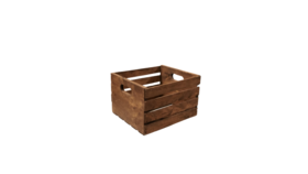 """Image of a Crate - Wood Slat with Cut Out Handle, Stained - 18"""" H x 12.5"""" L x 9.5"""" W"""