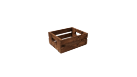 """Image of a Crate - Wood Slat with Cut Out Handle, Stained - 5"""" H x 12"""" L x 9.5"""" W"""